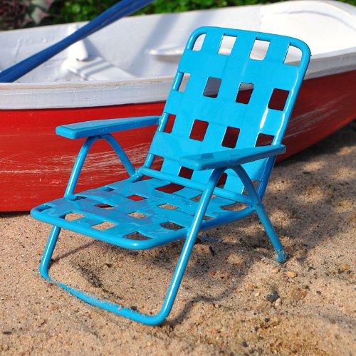 Miniature Fairy Garden Web Lawn Chair, Blue