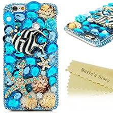 "buy Iphone 6S Case - Mavis'S Diary 3D Handmade Bling Crystal Striped Tropical Fish Golden Starfish Shells Shiny Sparkle Blue Diamonds Gems Clear Cover Hard Pc Case For Iphone 6S (4.7"") With Cleaning Cloth"