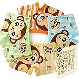 【SK】 Monkey 130 子供用 ボクサーパンツ キッズ 男の子 肌着 ブリーフ 下着 ショートタイプ パンツ オールシーズン 子どもショーツ 男児 キッズインナー 快適 さる モンキー 4枚 + ハンカチ1枚セット 6~8歳 125~135㎝