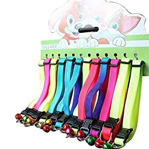 Mcitymall66 Personalized Rainbow Embroidered Cat Collar with Bell, Pack of 12