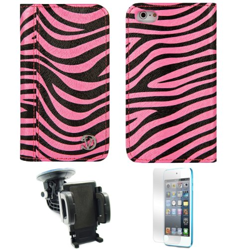 Mary Black Pink Zebra Wallet Design Smart Stand Case For Apple Iphone 5 Ios (6) + Screen Protector + Windshield Car Mount