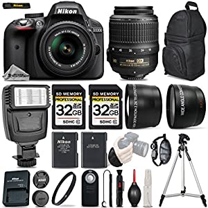 Nikon D3300 DSLR 24.2MP, Full HD 1080p Camera + Nikon 18-55mm VR II Lens + Flash + .43x Wide Angles + 2.2X Telephoto Lens + UV Filter & More - International Version