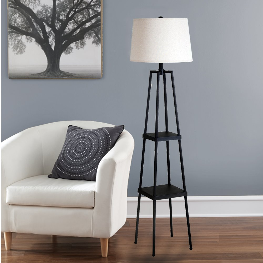 Catalina Lighting 19305 000 Transitional Etagere Floor Lamp With 3 Way Switch Shelves Ivory Beige Linen Shade And
