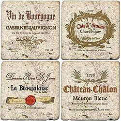 Thirstystone Ambiance Travertine Wine Labels Coaster, Multicolor