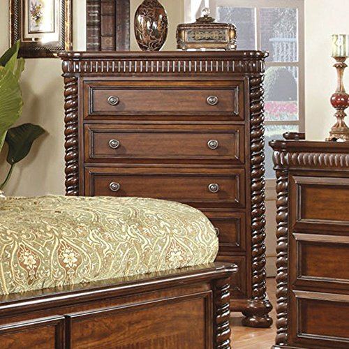 Furniture Of America Grand Eclair 5 Drawer Chest - Cherry, Brown, Wood front-610124