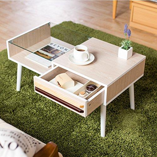 センターテーブル スタイリッシュ ディスプレイ 木目調 強化ガラス 収納付き ホワイトウォッシュ色Aタイプ