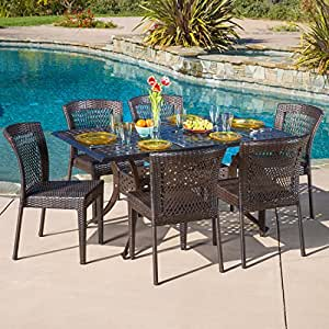Rowan 7 Piece Outdoor Patio Dining Set Weather Resistant Resin Wicker With Cast