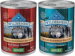 Blue Buffalo Wilderness Rocky Mountain Recipe Grain Free Wet Dog Food Variety Pack - 2 Flavors (Trout Dinner & Red Meat Dinner) - 12.5 Ounces Each (6 Total Cans)