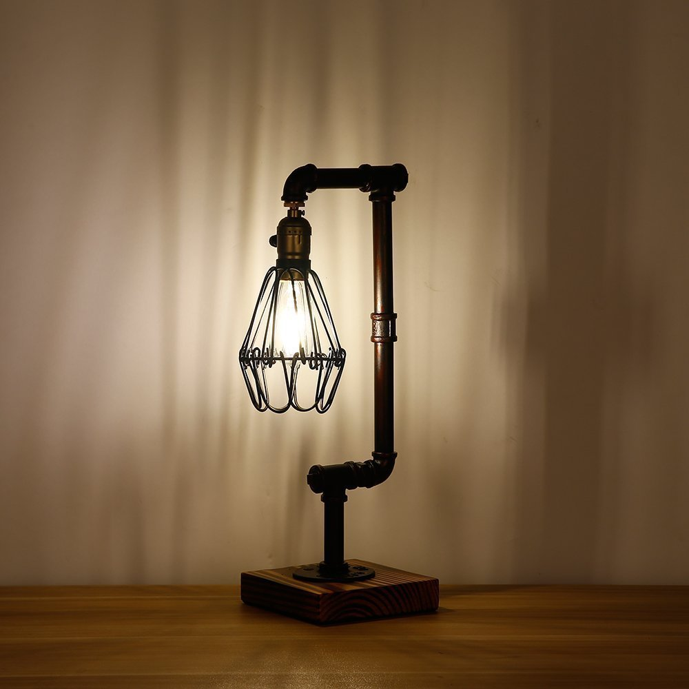 Injuicy Lighting Loft Vintage Industrial Water Pipe / Wood Table Light Edison Desk Accent Lamp