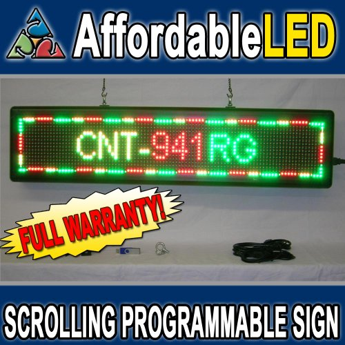 Programmable Scrolling Led Sign - Indoor Display - 9 Inch (H) X 41 Inch (W) (Red, Green & Amber)