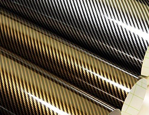 1577-x20acM-50-cm-x-152-cm-Film-autocollant-brillant-Air-canaux-carbone-2d-or-noir-Instructions-en-allemand