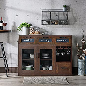 HOMES: Inside + Out HFW-1675C6 Tanaka Transitional Style Buffet Server, Vintage Walnut