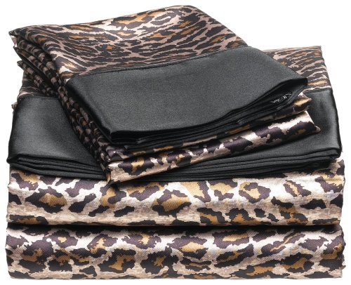 Satin Leopard Sheets Safari Bedding