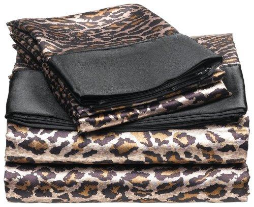 Satin Leopard Sheets Safari Bedding