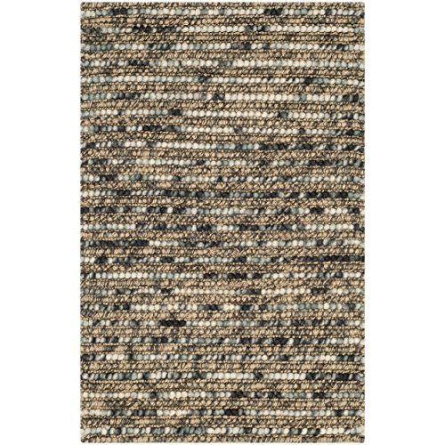 Safavieh Bohemian Collection BOH525A Hand-knotted Blue and Multi Hemp and Jute Area Rug, 2 feet by 3 feet (2' x 3')
