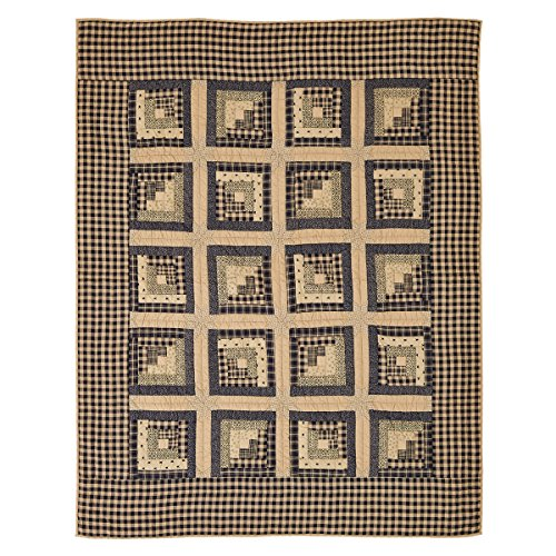 VHC Brands Brockton Cabin Black Quilted Throw 70x55