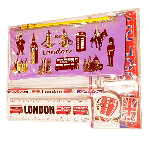 # 1 Bestselling All In One Kit scuola - Londra Souvenir - Penna/matita caso, temperamatite, gomma/gomma, righello (cm/cm) - Trousse/Federmappchen Caja de lapices/Astuccio - Rosa - Tutto Londra, Taxi nero/rosso per box, London Bus/Guardia Reale, Beefeater/Torre Di Londra, Big Ben/Westminster Abbey/Tower Bridge/Cattedrale di San Paolo - Prodotto di alta qualità