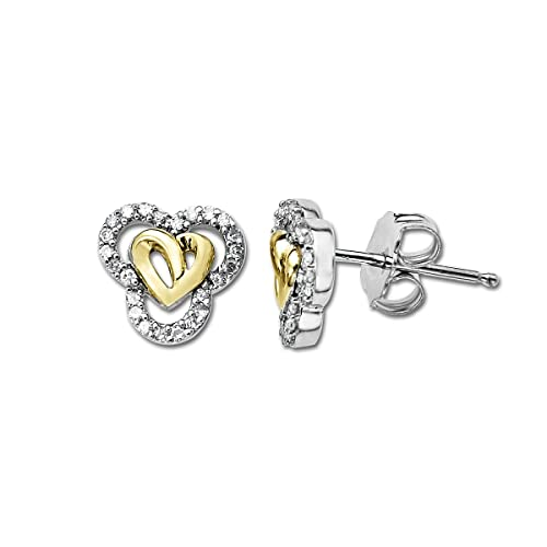 Love Knot Sterling Silver and 14K Gold Diamond Heart Earrings