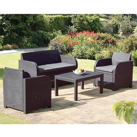 Allibert Oklahoma Anthracite Grey Rattan Garden Set with Cushions
