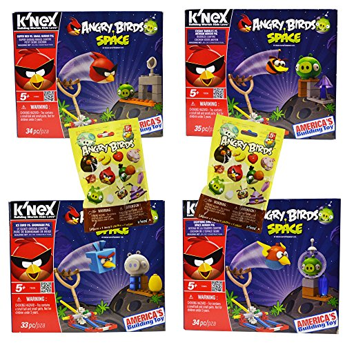 Power Brand 4 Different Angry Birds Knex Set with 2 Characters (Angry Bird Mashems Space compare prices)