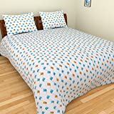 BeautifulHOMES 180 TC Cotton Double Bedsheet with Two Pillow Covers - Multi Color, CF009