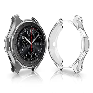 Case Samsung Gear S3 Frontier SM-R760, Belyoung Soft TPU Plated Protective Bumper Shell Samsung Gear S3 Frontier SM-R760 & Galaxy Watch 46mm SM-R800 Smartwatch (5PACK) (Color: black+gray+gold+silver+clear, Tamaño: 46mm)