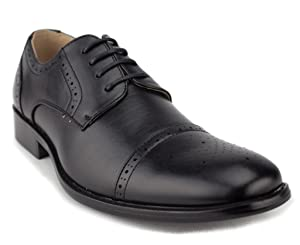 Men's 95733 Leather Lined Cap Toe Lace Up Dress Oxford Shoes, Black, 10