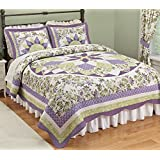 French Star Patchwork Quilted Bedspread Lavender King