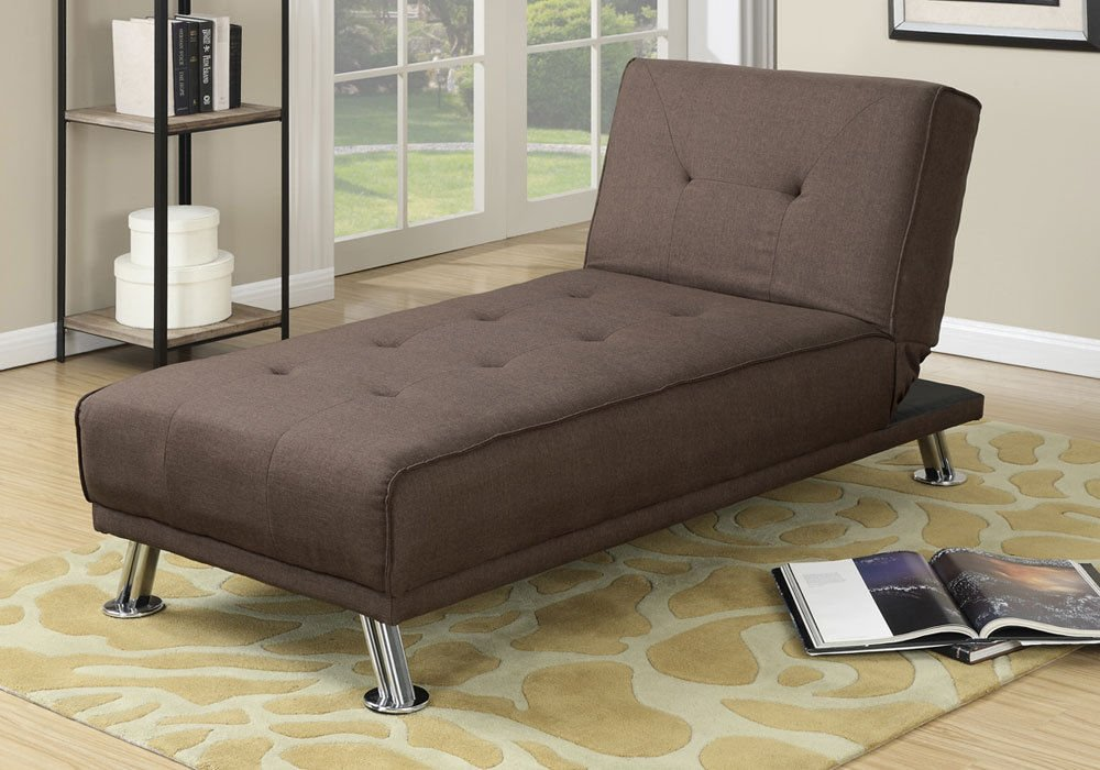 1PerfectChoiceModern Living Room Adjustable Chaise Lounge Brown Tufted Polyfiber Linen Fabric