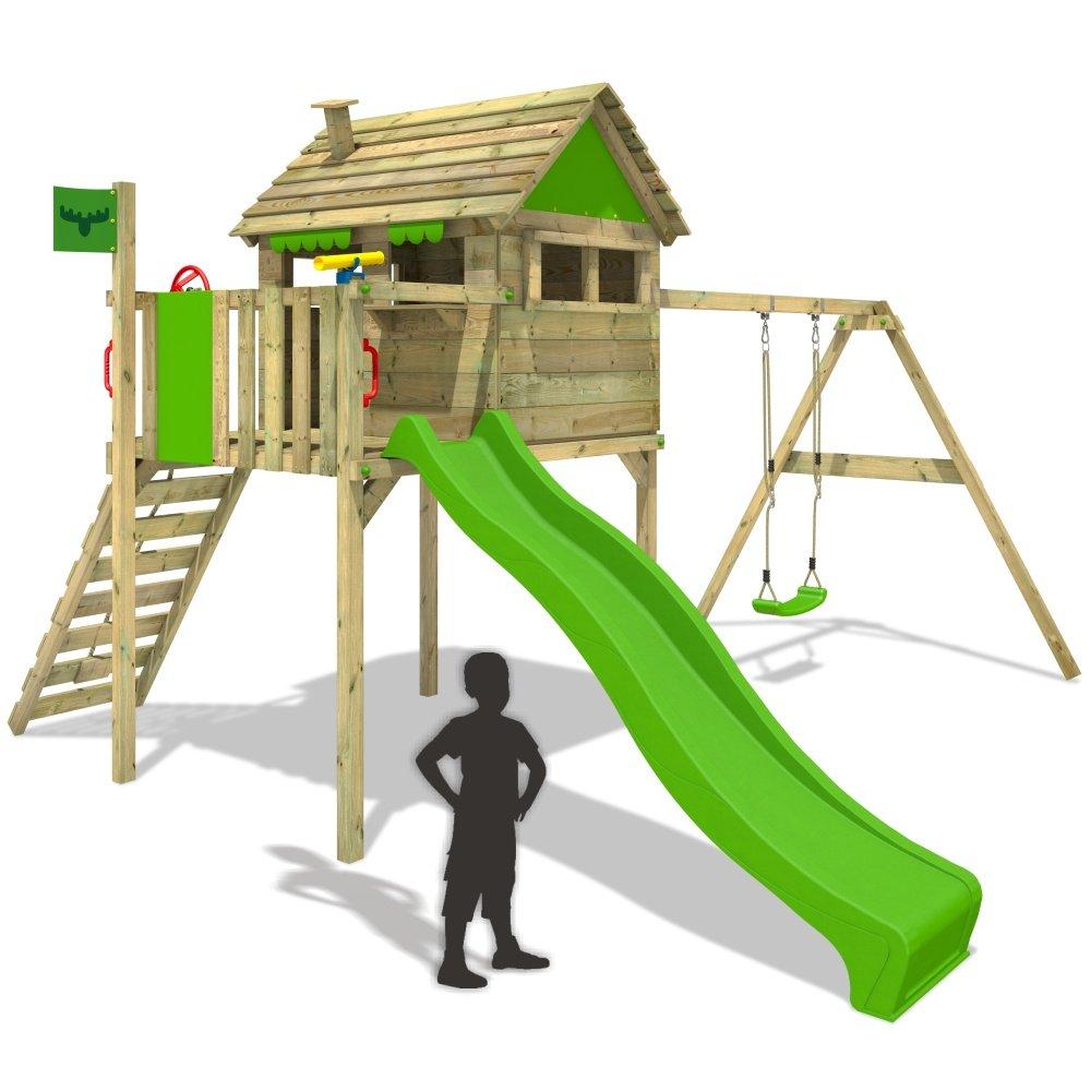 FATMOOSE FunFactory Fit XXL Spielturm Stelzenhaus Baumhaus Spielhaus mit Schaukel und Rutsche online kaufen
