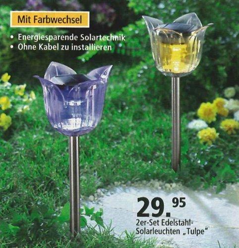 Solarleuchten Tulpe 2-er Set mit LED – Farbwechsel und Edelstahlfuß