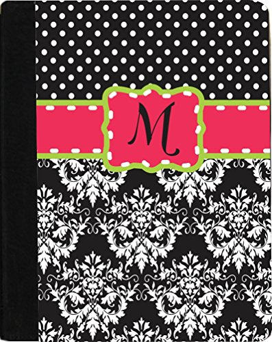 "Rikki Knighttm Rikki Knight Initial ""M"" Pink Green Black Damask Dots Monogrammed Design Kindle Fire Hd 8.9"" (2012 Version) Notebook Case Black Faux Leather (Measures 9.5"" X 6.5"") front-632880"