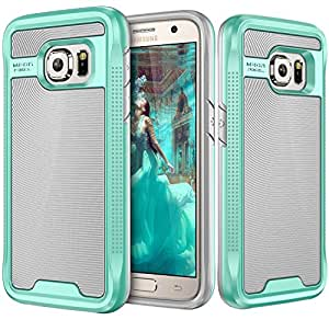 Galaxy S7 Case, E LV Galaxy S7 - Hybrid (Scratch/Dust Proof) Armor Defender Slim Shock-Absorption Bumper Case for Samsung Galaxy S7 - GREY/ MINT (NOT COMPATIBLE WITH S7 EDGE)