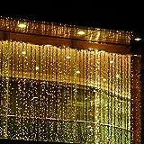 KKGUD LED Guirlande Rideau Lumineux 4M×3M 400 leds avec la Prise Française 8 Modes de Flash pour Décoration Noël / Soirée / Festival/ Mariage, Fête (Blanc Chaud)...