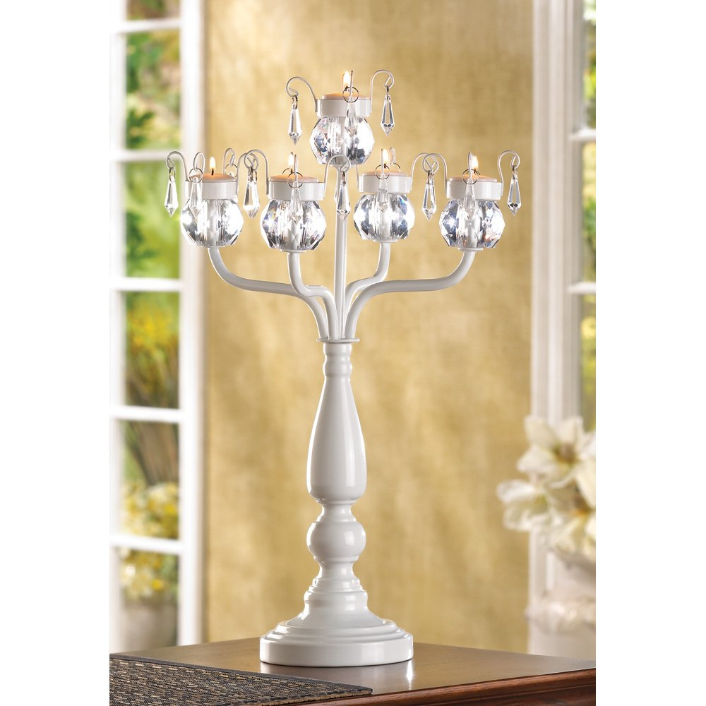 "10 WEDDING CANDLE CENTERPIECES CANDELABRA 17 3/4"" TALL"