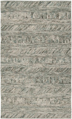 5' x 8' Desert Winds Beige and Slate Blue Braided Texture Wool Area Throw Rug