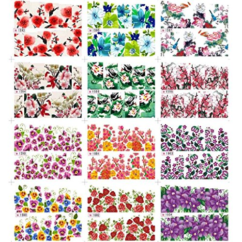 Nail Art Stickers, Sandistore 12pcs Flower Water Transfer Women Manicure Nail Art Stickers DIY Tips Decoration (#4) (Nail Decals compare prices)