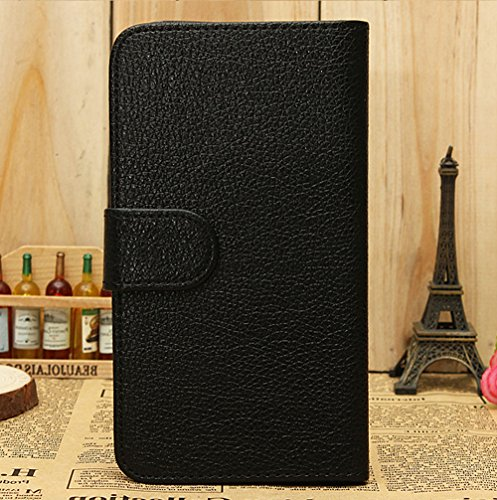 Mylife (Tm) Dark Black {Classic Design} Faux Leather (Card, Cash And Id Holder + Magnetic Closing) Slim Wallet For The All-New Htc One M8 Android Smartphone - Aka, 2Nd Gen Htc One (External Textured Synthetic Leather With Magnetic Clip + Internal Secure S
