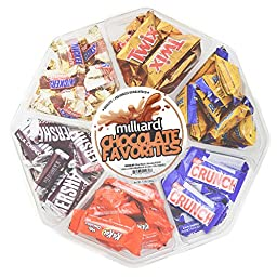 Milliard Chocolate Gift Tray - Variety of Assorted Mini Chocolates, Favorites Platter: Twix, Butterfingers, Kit Kats, Nestle Crunch, and more!