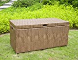 Outdoor Honey Wicker Patio Furniture Storage Deck Box