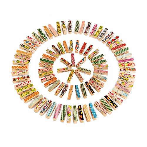 Outus Mini Coloré Photo Pince à Linge Coloré En Bois, 100 Pièces