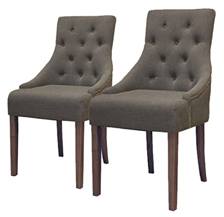 Baumhaus Walnut Accent Upholstered Dining Chair - Stone (Pack Of Two)