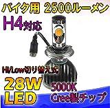 瞬間点灯! RG社製 バイク用  CREEチップ搭載 H4 28w 2500lm Hi/Low式 LED ヘッドライト システム
