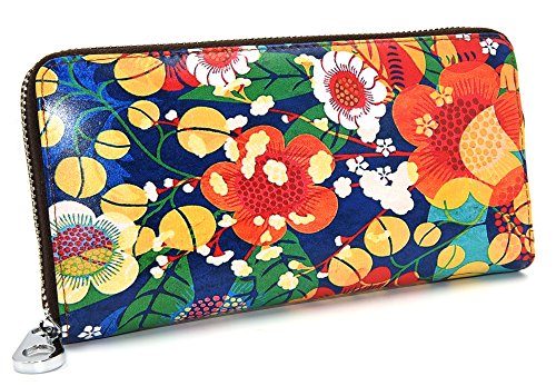 DCCN a portafoglio in pelle con cerniera lunga Arround Supporto per borsa, da donna Fiori