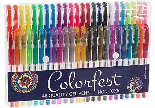 Colorfest Premium 48 Piece Gel Pen Set for Adult Coloring Books, Includes Metallic, Glitter, Neon and Pastel Colored Pens