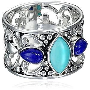Sterling Silver Simulated Turquoise and Lapis Filigree Ring, Size 7
