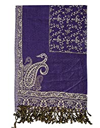 Classic Viscose Stole Purple 80x40 Paisley Self Weaved shawl By Rajrang