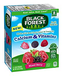 Black Forest Calcium & Vitamin Fruit Snacks, Mixed Berry, 0.8 Ounce Bag, Pack of 8