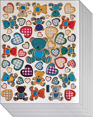 Jazzstick 350 Glitter Teddy Bear & Heart Decal Sticker Value Pack 10 sheet 09A07