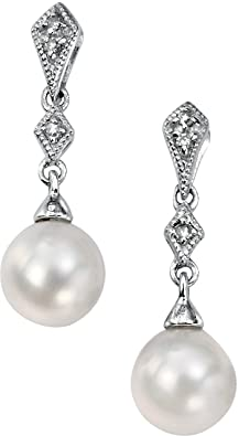 Elements Gold Ladies 9ct White Gold Freshwater Pearl and Diamond Vintage Drop Earrings